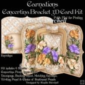 Carnations Concertina Bracket 3D Card Kit Tri Fold Cards, Slider Cards, Pocket Cards, Folded Cards, Card Kit, Card Tags, Stepper Cards, Bead Embroidery Patterns, Shaped Cards