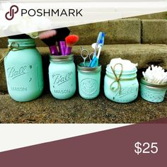 """New Mason jar decor bundle Set of 5 different sizes jars # other color avalible # accesories & flowers not included sample only# FINAL PRICE# this item can't be bundle due weight  ⚡*Only small items can be bundle... ⚡* Only 6- 16oz mason jars can be bundle... ⚡* Only 5-32oz mason jars can be bundle... ⚡* Only 12 -4oz mason jars can be bundle... ⚡*Some of my listings say """"this item can't be bundle due weight """" so be careful before you bundle... ⚡* Receive 5% on 2 items... Makeup Brushes…"""