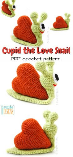 What a fun crocheted Valentine's toy! This pattern looks like it would be a quick and easy crochet project for a last minute Valentine's gift. Super sweet little alien-looking snail with a heart shell. #etsy #ad #amigurumi #crochet #pattern #stuffy