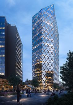 Kineum - reflex arkitekter on behance Office Building Architecture, Futuristic Architecture, Facade Architecture, Building Design, Facade Design, Exterior Design, Future Buildings, Architecture Visualization, High Rise Building