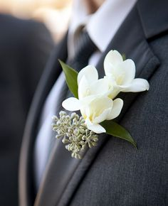 eucalyptus seed boutonniere | Lace/Hanky Photography | Blog.theknot.com