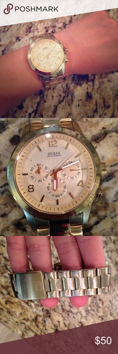 Beautiful Guess gold chronograph watch Beautiful gold authentic chronograph sports women's watch. Needs new battery and some TLC. Similar brand new would be $150+ so this is a great deal if you don't mind a few scratches and imperfections. Sold as is. Guess Jewelry Bracelets