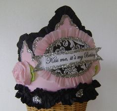 Birthday Party Crown  Hat   Kiss me it's my Birthday by glamhatter, $24.00