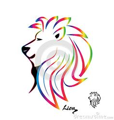 Stylized colorful lion head silhouette logo