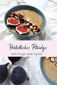 Was gibt es Schöneres als eine Schüssel voll herrlich warmem Porridge zum Frühstück? Diese Version hier steckt voller Feigen, Äpfeln, Honig, Zimt, Nelke und wird getoppt mit frischen Früchten und gerösteten Haselnüssen. #porridge #haferbrei #porridge rezept #frühstück #feigen rezept Superfood, Cheeseburger Chowder, Soup, Blog, Vegetarische Rezepte, Healthy Food Recipes, Figs, Asian Food Recipes, Dianthus Caryophyllus
