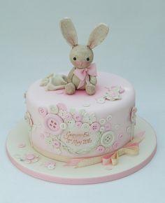 """Buttons, Bows & Bunny""Baby Girl Shower Cake ~Emma Jayne Cake Design"