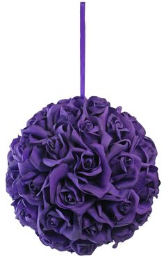 Garden Rose Kissing Ball - Purple - 10 Inch Pomander Extra Large - TheBridesBouquet.com