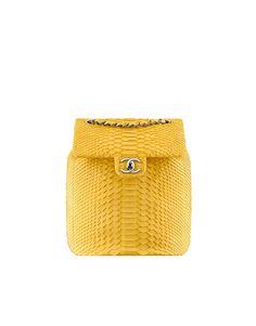Backpack, python-yellow - CHANEL