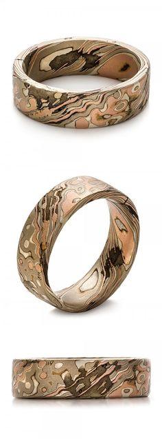 Custom Mokume Gane Men's Wedding Ring Band Nature Wood White Gold Silver Rose Gold Unique Joseph Jewelry | Seattle | Bellevue | Online