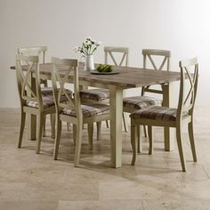 Isabella Brushed Acacia And Painted Dining Set
