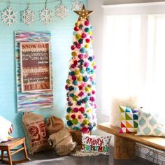 Looking for Unique Christmas decoration idea? Here are best Pom Pom Christmas Decorations ideas for you. Try these Christmas decorations & you'll love it. Neighbor Christmas Gifts, Neighbor Gifts, Christmas Gift Wrapping, Christmas Crafts, Christmas Events, Crochet Christmas, Christmas Ornament, Pom Pom Decorations, Unique Christmas Decorations