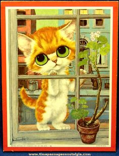 Pity Kitty Print by Gig Keane Litho Sad Cat by I Love Cats, Crazy Cats, Big Eyes Paintings, Nostalgia Art, Sad Cat, Sad Kitty, Cats With Big Eyes, Puppies And Kitties, Mid Century Art