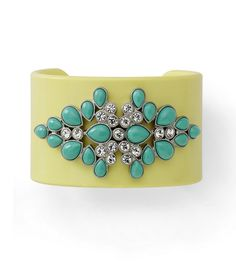 SPRITZER -  Cuff Bracelet - Warm turquoise resin and cut crystals sit atop a pale citron bangle bracelet. $18 CAN