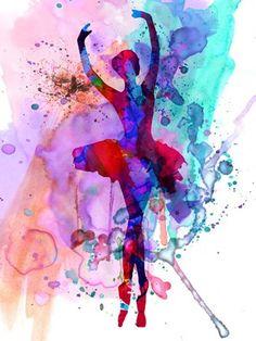 Framed Ballerina's Dance Watercolor 3 Print