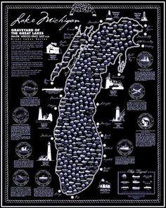 Lake Michigan shipwreck map… A diver's dream! Lake Michigan, Michigan Travel, State Of Michigan, Northern Michigan, Wisconsin, Michigan Facts, Detroit Michigan, Great Lakes Shipwrecks, Great Lakes Ships