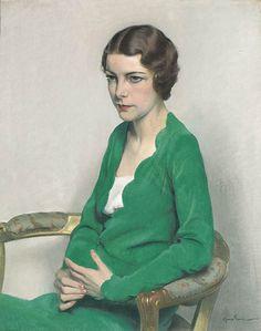 sir herbert james gunn portrait of a lady wearing a green dress