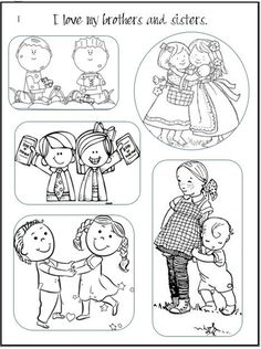 I Love my Brothers and Sisters Printable Coloring Page