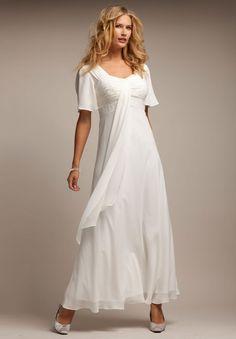 Plus Size Flutter Sleeve Beaded Empire Waist Gown   Plus Size Dresses   Roamans