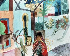 August Macke - Girl with horse and donkey