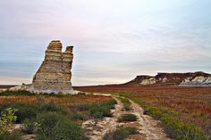 Castle Rock, in Gove County, near Quinter, Kansas. The large limestone pillar is extremely fragile, so much so that the tallest part fell and shattered during a 2001 thunderstorm.