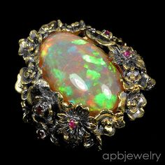 Top Special AAAA+ 12ct Natural Opal 925 Sterling Silver Ring Size 8.75/R34951 #APBJewelry #Ring