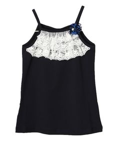 Loving this Blue Lace Ruffle Tank - Infant, Toddler & Girls on #zulily! #zulilyfinds