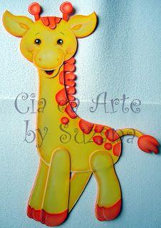cia da arte: Meus bichinhos cutes! Punch Art Cards, Pop Up Cards, Paper Punch, Baby Applique, Giraffe Art, Scrapbook Designs, Scrapbook Embellishments, Foam Crafts, Tole Painting