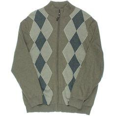 Tasso Elba Mens Argyle Full Zip Mock Turtleneck Sweater