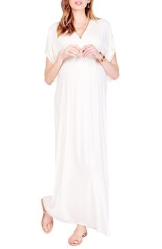 Free shipping and returns on Ingrid & Isabel Split Kimono Sleeve Maternity Maxi Dress at Nordstrom.com. A wide gathered band highlights the Empire waistline of a soft jersey maxi dress with feminine gathers at the bust and back. The flowy silhouette flatters your changing silhouette through each trimester and beyond.