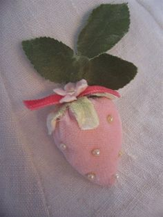 pink velvet strawberry with pearl buttons