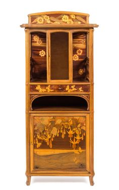 An Emile Galle Various Woods Marquetry Vitrine  |  Louis Daniel Brodsky Collection of Art Nouveau