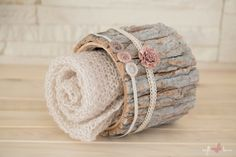 SET Knit Newborn Wrap and 2 Handmade Tiebacks with tiny matching pearls and flowers / Newborn Photography Props by SoftButterflyKiss on Etsy