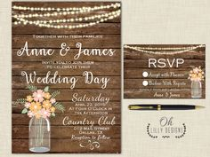 Rustic Wedding Invitation Country Mason Jar by ohlillydesigns