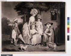 Scene outside a cottage, on a wealthy estate; well-dressed woman, accompanied by her two daughters, a young black servant and a small dog, instructing her youngest child to give money to a poor woman, kneeling beside her doorway and holding her sleeping baby.  1 March 1784  Mezzotint