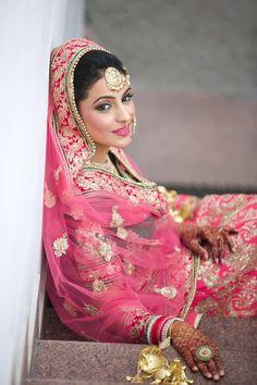 Looking for plum pink lehenga? Browse of latest bridal photos, lehenga & jewelry designs, decor ideas, etc. on WedMeGood Gallery. Indian Bridal Makeup, Indian Bridal Fashion, Indian Wedding Outfits, Bridal Outfits, Wedding Attire, Wedding Bride, Bridal Dresses, Indian Weddings, Bridal Makup