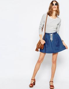 Image 1 of ASOS Denim High Waist With Rope Tie Mini Skirt in Mid Wash Blue