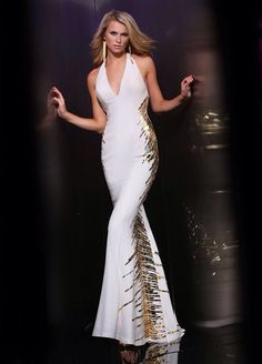 5da8810b52e White and gold Long Sequin Dress