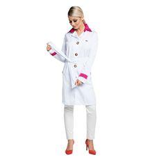 Jaleco Feminino Fancy Branco Gola Pink - Dra. Cherie   Dental Cremer