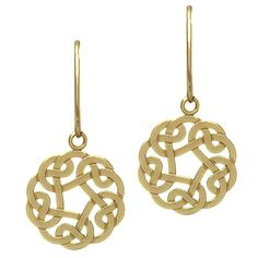 One could not possibly find the beginning or end to the threads, or to the loveliness, of these Celtic knot earrings. The latticework hypnotizes admirers with its precise patterns swirling in 10 karat yellow gold. The negative space in the design creates a charm all of its own, as it gives the impression of airiness and openness.?The History...Knots such as these began decorating mosaics, architecture, and books as far back as the third and fourth centuries, during the reign of the Romans. A…