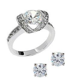 Tivoli CZ Round-Cut Stud Earrings & Ring Set :)