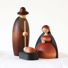 Nativity, Lathed Wood Holy Family