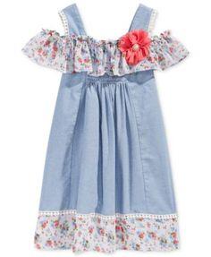 d3c26a6f955 Bonnie Jean Cold-Shoulder Chambray Dress, Toddler & Little Girls (2T-6X) &  Reviews - Dresses - Kids - Macy's