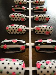 Hand-painted black and white, floral nail