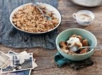 Nutty hazelnut and almond pear crumble with elderflower cream