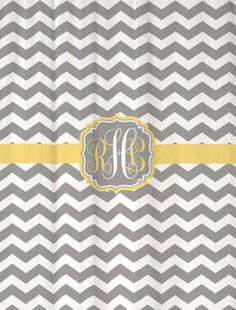 """Shower Curtain - Cool Gray Chevron with Butter Yellow Accents - 69x70""""  - Monogrammed Personalized Custom for Your Bathroom. $69.00, via Etsy."""