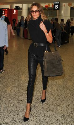 Stunning: Nicole Trunfio was dressed to impress when she arrived at Sydney airport on Thursday