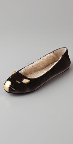 Velvet Marc Jacobs slippers mouse face detail at the vamp, with Sherpa lining and suede sole......So Cuteeeeee!  <3