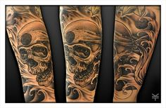 Oriental skull and waves. © Kevin Totton, Tat2Ink