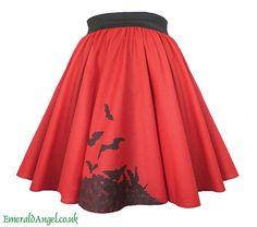 Bats Circle Skirt, Gothic, Gothabilly. Custom Size