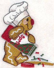 Threadsketches' set Sprinkles on Top - Christmas machine embroidery design, gingerbread chef with sprinkles